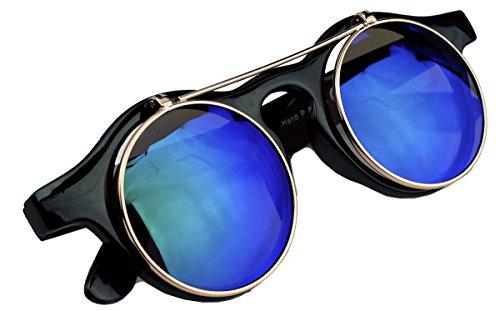 50er 60er Jahre Retro Sonnenbrille klappbare Gläser rund Vintage Steampunk Flip up FARBWAHL FL97 (Grün-Blau verspiegelt)
