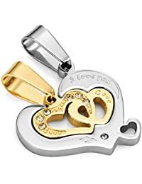 """I Love You 2pcs a juego parejas Corazón Cz Colgante Set con 48,3cm & 53,4cm His & Hers con collar (Oro, Plata)"