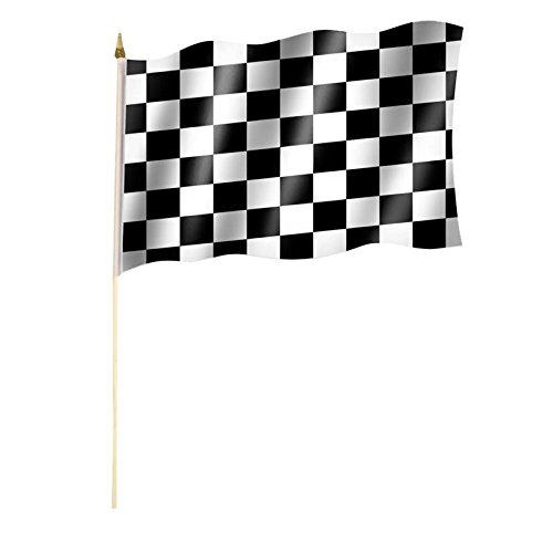 Stockflagge/Stockfahne ZIELFLAGGE/AUTORENNEN/START ZIEL/RENNEN Flagge/Fahne ca. 30 x 45 cm mit ca. 60cm Stab/Stock -