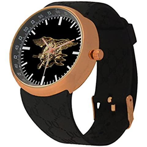 Oksana generic print Men's Navy Seal Tridentcustom Rose Gold Resin Strap Watch - Personalized Gold Seal