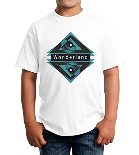 Wonderland Graphic Blue And Black Triangles Kids Unisex T-shirt 5-13 Ages Extra Small Wonderland Kinder Hoodie