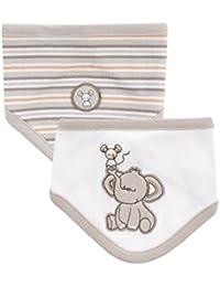 Jacky unisex Baby Halstücher, 100% Baumwolle, 2er Pack, Off White + Beige/Ringelstreifen, Jacky Elephant, Gr. OneSize, 314102