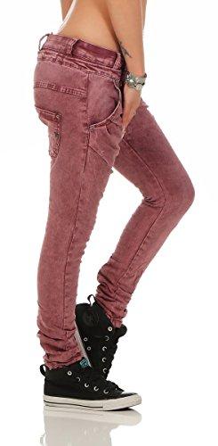 Fashion4Young - Jeans - Taille empire - Femme bleu bleu foncé L=42 20-weinrot