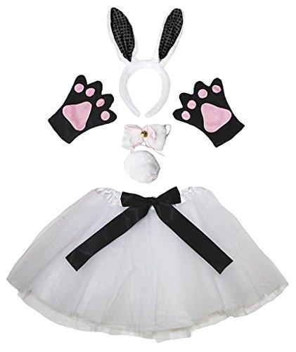 d Bowtie Schwanz Handschuhe Tutu 5pc Mädchen-Kostüm Einheitsgröße Schwarz Weiß Häschen ()