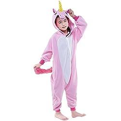 Rainbow Fox Chicos Chicas Unicornio Pijama Pegaso Animal Disfraces Dibujos animados Cosplay Ropa para Niños Inferior que 140cm en Altura (125(130-140cm), rosado)
