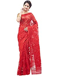 Slice Of Bengal Handloom Tangail Silk Cotton Dhakai Jamdani Saree Red 101011000349
