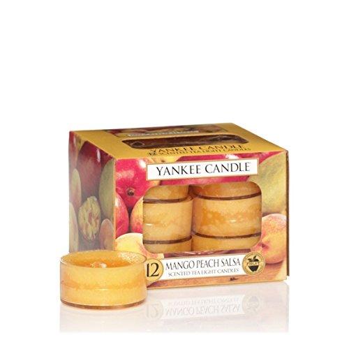 YANKEE CANDLE CANDELA 12 CLASSIC TEA LIGHTS MANGO PEACH SALSA PROFUMAZIONI CASA