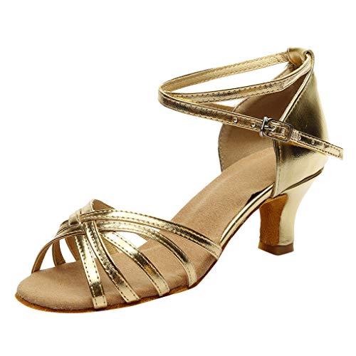 NMERWT Frauen Rumba Waltz Prom Ballroom Latin Salsa Tanzschuhe Square Damen Dance Gesellschaftstanz Pumps Latein Schuhe (37, Z9-Gold) Square Heel