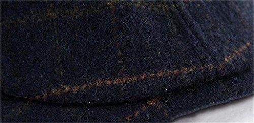 Hat Chapeau Hommes d'hiver et d'hiver coréen laine casquette épais béret chaud plaid peintre chapeau Marine