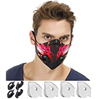 N99 Dust Mask by NHForest | 4 Activated Carbon N99 Filters & 2 Air Valves | Dust-proof Respirator Face Mask | Protects from Dust, Allergy and Pollution | Woodwork & Winter Outdoor Activities (Phoenix)