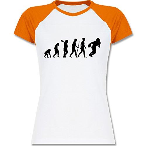 Shirtracer Evolution - Football Evolution - Zweifarbiges Baseballshirt/Raglan T-Shirt für Damen Weiß/Orange