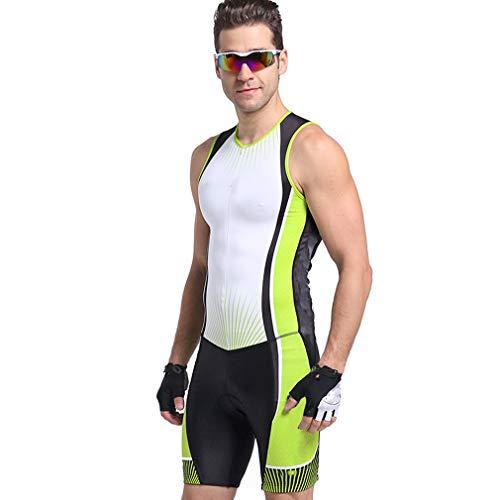 HEIMEN Männer, die Skinsuit-Satz, Fahrrad-ärmelloses Jersey-Berufs-Triathlon-Anzugs-Badeanzug-Laufen Radfahren,L