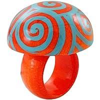 Chic-Net a mano anello di legno dipinto luce arancione spirale