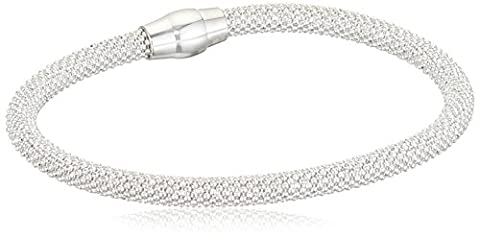 Elements Silver B4141 Ladies' Popcorn Sterling Silver Bracelet with Magnetic Clasp Length of 19 cm