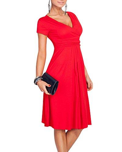 Moollyfox Femme Robe été Cache-coeur V Col Profond Manches Courtes Robe Fourreau Rouge