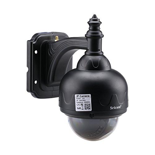 Sricam SP015 720P Wireless Dome IP Kamera Wlan Überwachungskamera H.264 PT 3.6mm IR-CUT 22 Infrarot LED Nachtsicht P2P CCTV Sicherheitskamera Wasserdicht Outdoor IP Cam Email Alarm Schwarz