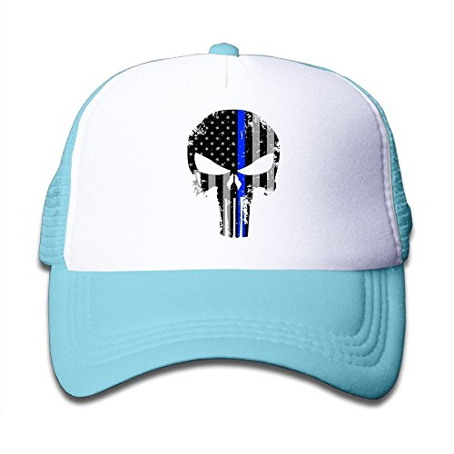 Hittings Youth Blue Line Punisher USA Cute Adjustable Baseball Caps For Girls One Size Skyblue par  Hittings