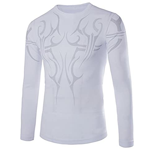 MQ T-shirt Tops Hommes Chemise Cool Tatouage Impression Manches Longues Col Rond Quick-Dry Fitness Tee Shirts