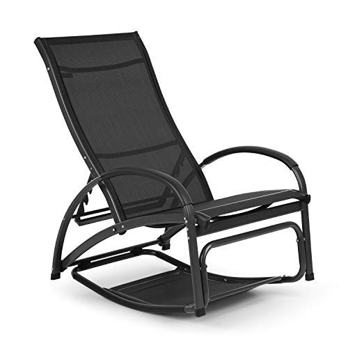 blumfeldt Beverlywood Sonnenliege Schaukelstuhl (Gestell aus Aluminium, 4-Fach verstellbare Rückenlehne, DualComfort, Material: 70% PVC und 30% Polyester Comfort Mesh, Edelstahlschrauben) schwarz -