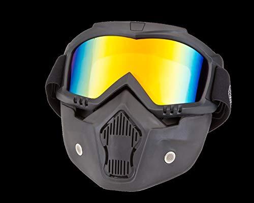 PiWear Motorradbrille Invase mit abnehmbarer Maske, schwarz mit gold-verspiegeltem Glas