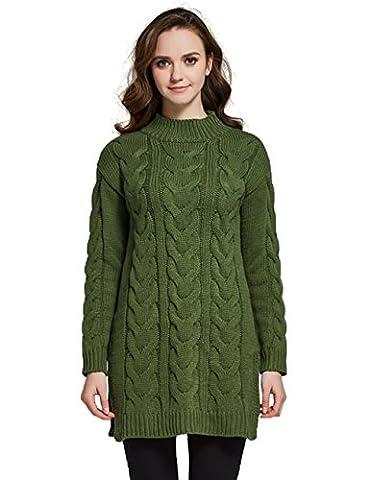 Camii Mia Pull Sweat Femme en Tricot Chaud (Large, Vert)