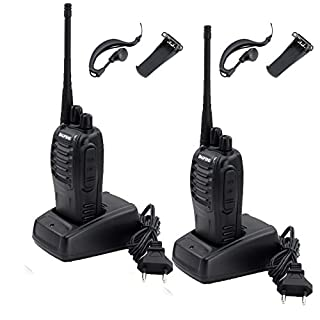 Hengda 2X Walkie-Talkie BF 888s Handfunkgerät Plus UHF Sprechfunkgerät Emergency Alarm mit Headset