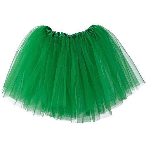 tü Rock Minirock 3 Lagen Petticoat Tanzkleid Dehnbaren Mini Skater Tutu Rock Erwachsene Ballettrock Tüllrock für Party Halloween Kostüme Tanzen (Grün, 2-8 Jahre) ()