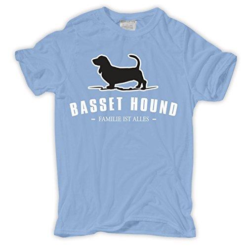 Männer und Herren T-Shirt Bassett Hound - Familie ist alles Hellblau