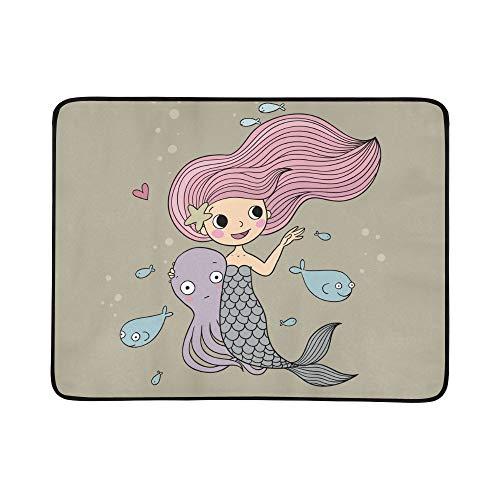 Meerjungfrau mit Meerestieren Muster tragbare und Faltbare Deckenmatte 60x78 Zoll handliche Matte für Camping Picknick Strand Indoor Outdoor-Reise ()