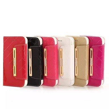 Wkae Étui en cuir véritable motif de diamant de portefeuille de cuir de 4,7 pouces pour l'iPhone 6 (couleurs assorties) Wkae Case Cover ( Color : White , Compatible Models : IPhone 6s Plus/6 Plus ) Black