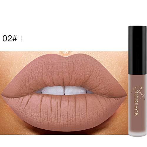 Bluestercool 26 Couleurs Rouge à Lèvres Liquide Mat Waterproof Hydratant Brillant Maquillage à Lèvres (9.8*1.5*1.5, 2#)