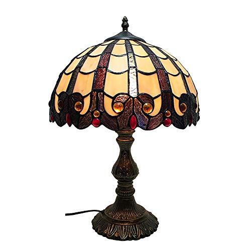 Klein Tiffany stil Tischlampe, Carving muster Glasschirm Roten edelstein Bett Tischleuchte Metallbasis H:18.1 zoll W:11.8 zoll-A - Klassische Tiffany-tischlampe
