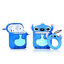 Lewote Airpods Silikon-Schutzhülle für Apple AirPods 1 und 2, Cartoon-Design, tolles Geschenk für Mädchen, Jungen oder Paare, lustig, niedlich