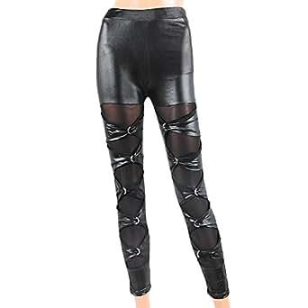 Neuf Legging Pantalon PU Bi-matiere Punk Slim Stretch Sexy Mode Femme Noir