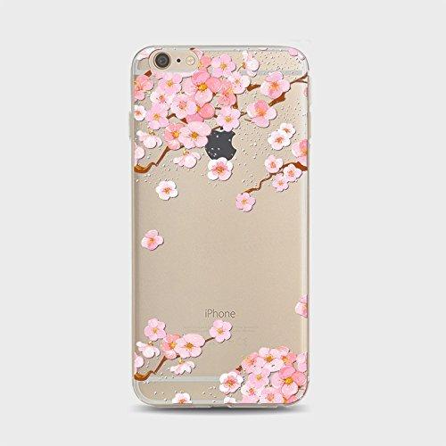Coque iPhone 7 Plus Housse étui-Case Transparent Liquid Crystal Sakura en TPU Silicone Clair,Protection Ultra Mince Premium,Coque Prime pour iPhone 7 plus (2016)-style 1 style 1
