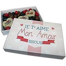 """CHOCOLAT SAINT VALENTIN """"Je t'aime mon amour"""" - COFFRET LISEA MM - CHOCOLAT ARTISANAL 165g - COFFRET CADEAU CHOCOLAT ST VALENTIN"""