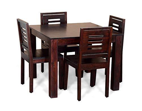 Corazzin Furniture Sheesham Wood 4 Seater Dining Table Set - Mahogany 4 Seater Sheesham Wooden Balcony Dining Table Set with 4 Chairs Home Room Furniture
