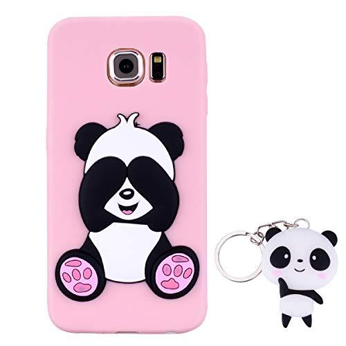 HopMore Panda Funda para Samsung Galaxy S6 Silicona con Diseño 3D Divertidas Carcasa TPU Ultrafina Case Antigolpes Caso Protección Cover Dibujos Animados Gracioso con Llavero - Rosado