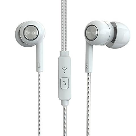Sports Écouteurs intra-auriculaires, des basses puissantes Guidé son, pilotes de 10mm de large, design ergonomique pour iPhone, iPad, iPod et lecteurs MP3chantant casque casque d'enregistrement