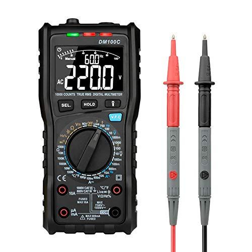 DM100C True-RMS-Digitalmultimeter-Taste 10000 Zähler Analogbalkendiagramm AC DC-Spannung Amperemeter Strom Ohm Manuell Auto Multimeter LTJHJTCD