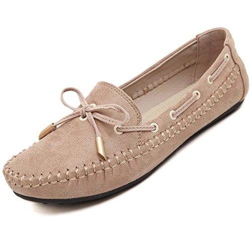 Katliu donna scarpe da barca ballerine casual slip on mocassini tempo libero scarpe singole per primavera estate autunno, beige 37