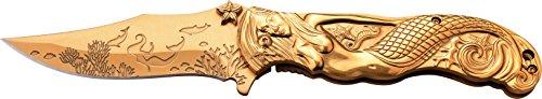MC MASTERS COLLECTION Taschenmesser MC-A013 Serie, Messer DESIGN GOLD, MEERJUNGFRAU SKULPTUR Griff, scharfes Jagdmesser, Outdoormesser 9,5 cm ROSTFREI Klinge, Klappmesser für  Angeln/ Jagd -