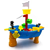 Top Race 24 Piece Outdoor Pirate Sand and Water Table - Ship Design, Splashing Summer Fun Toy, Includes Accessories; Scoops, Boats & Spades etc. For Children ages 3+