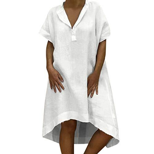 TITIU Damen Plus Size Unregelmäßige Mode Lose Leinen Kurzarm Shirt Vintage Bluse Tank Tee Oberteil Top(X6-Weiß,XL)