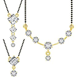 Jewels Galaxy White Copper Gold Plated 3 Unique Designs Mangalsutra Collection for Women(Set of 3)