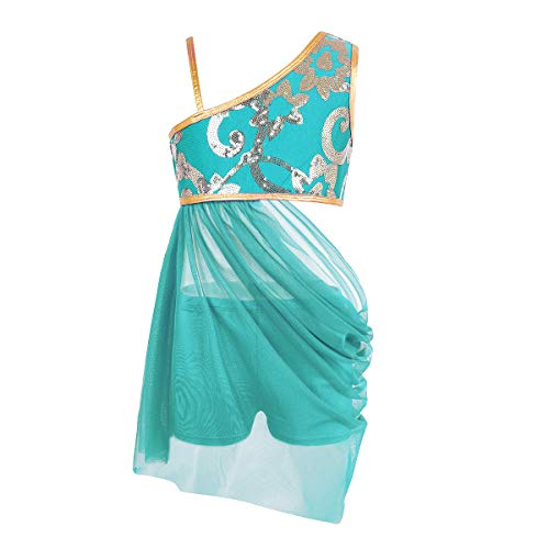 Freebily Mädchen Bauchtanz Kostüm EIN-Schulter Tanzkleid Latin Dancewear Tanz Outfits für Weihnachten Karneval Party Aufführung Lake Blue 128/8Jahre