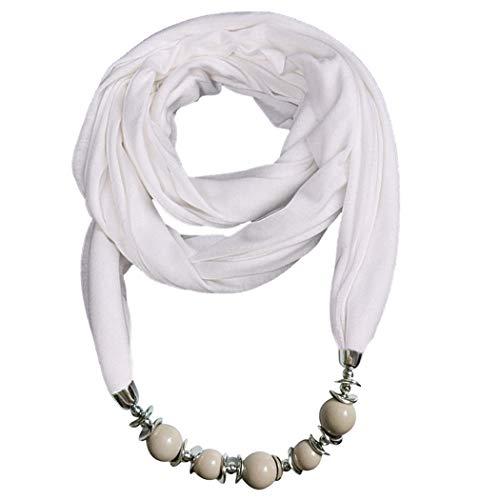 ZOYLINK Frauen Schal ethnischen Stil Perlen Schmuck Schal Halskette Schal Infinity Schal