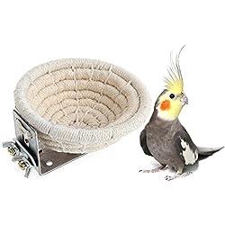 Hecha a mano con cuerda de algodón para la cría de pájaros, para periquitos de Budgie, paracaídas y loros pequeños, caja de nido a juego