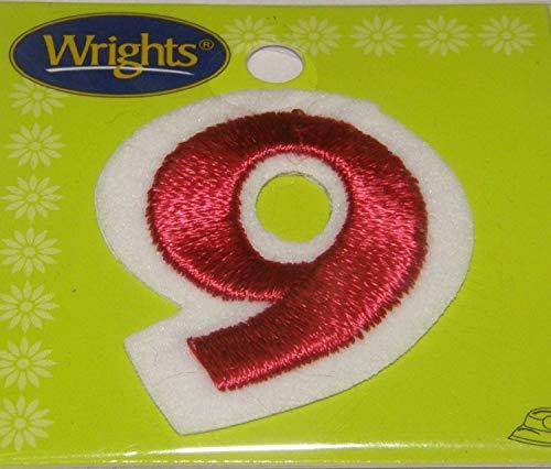 Nummer 9 Applique (Rot Bestickt Aufbügeln Applikation Nummer 9)