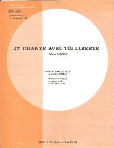 Je Chante Avec Toi Liberté D'après Nabucco Piano/Chant + Accords Feuillet